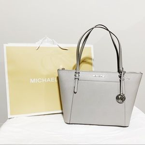 NWT Michael Kors Ciara Gray Zip Top Tote